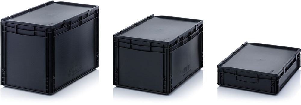 ESD Euro containers with hinged lid AUER Packaging