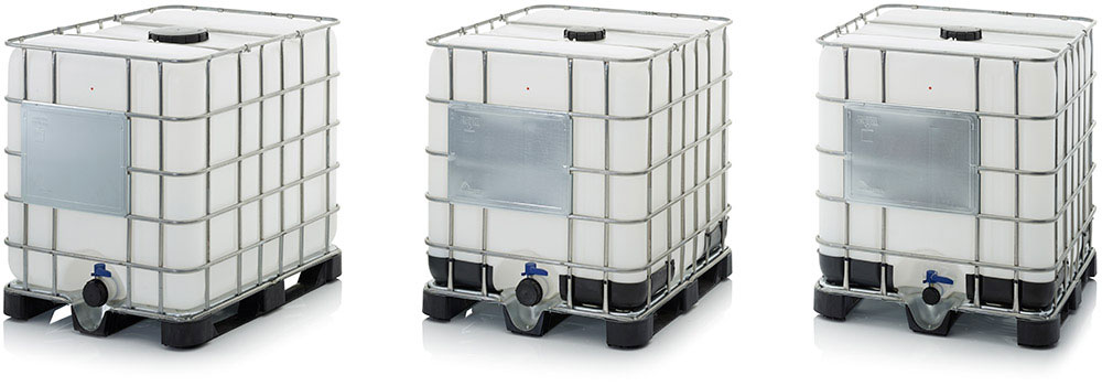 AUER Packaging IBC containers with plastic pallet Title image