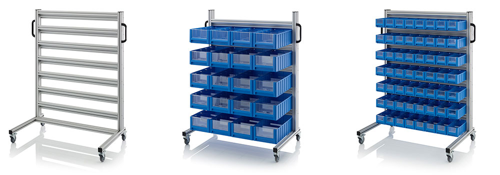 AUER Packaging System trolleys for rack boxes Title image
