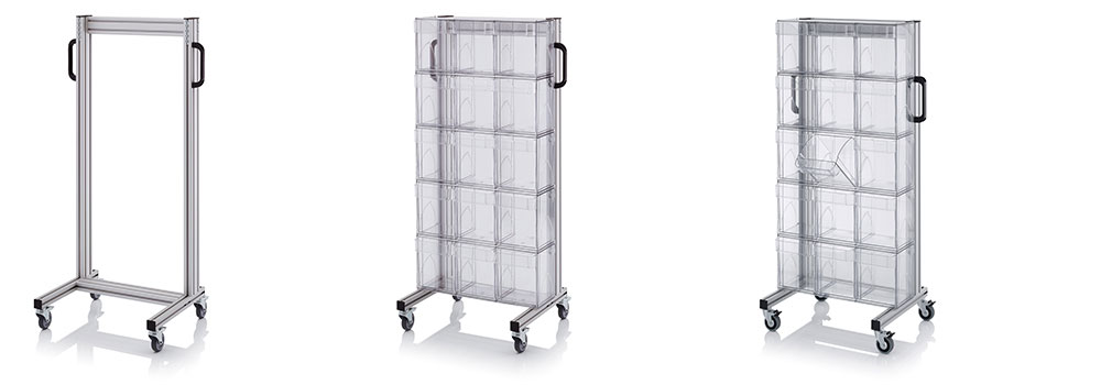 AUER Packaging System trolleys for tipping boxes Title image